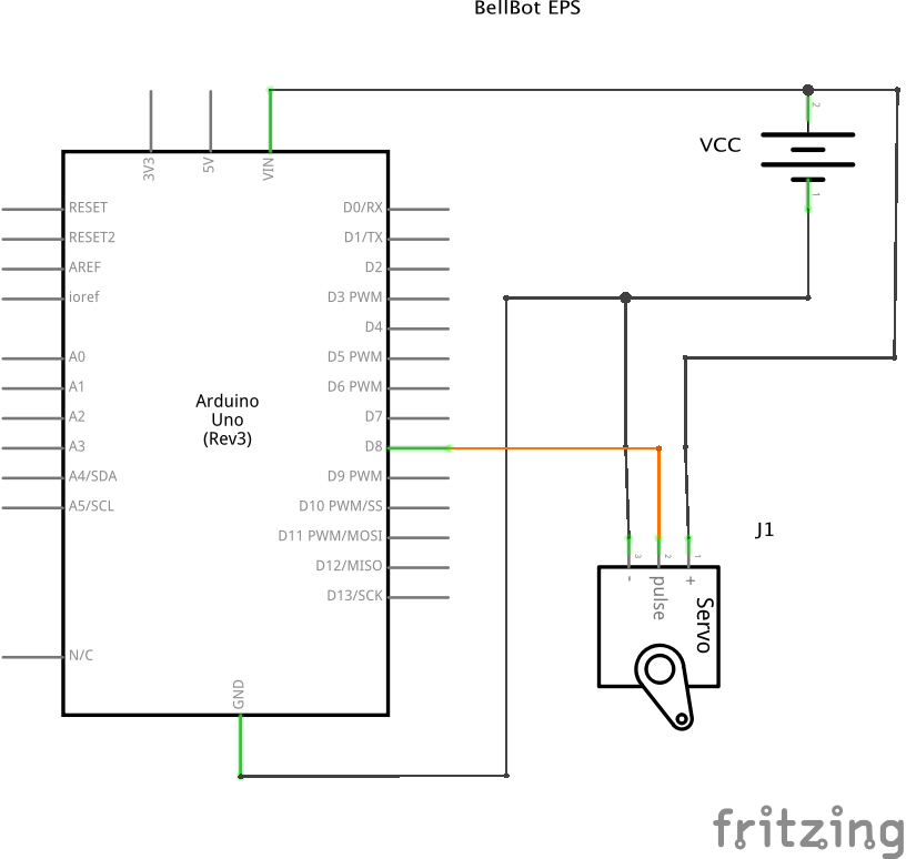 Schematic for BellBot running on an External Power Supply.